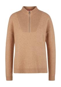 Damen High Neck-Pullover mit Rippeinsatz