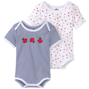 2 Baby Schlupfbodys in verschiedenen Dessins
