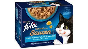 felix Katzennassfutter Sensations Saucen Geschmacksvielfalt aus dem Wasser 12x85g