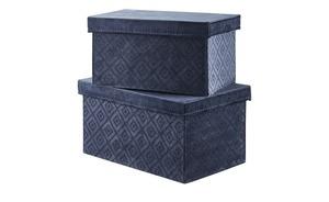 Aufbewahrungsboxen, 2er-Set - blau - Pappe, Samt - Aufbewahrung