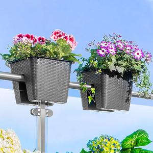Powertec Garden Balkon-Pflanzkasten, Anthrazit - 2er-Set