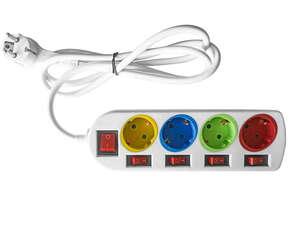 Powertec Electric Farbige Steckdosenleiste - 4-fach