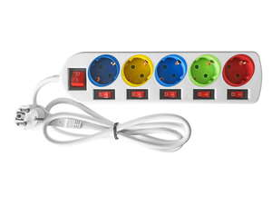 Powertec Electric Farbige Steckdosenleiste - 5-fach