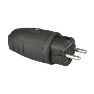 Schutzkontakt Stecker Gummi, IP44, schwarz