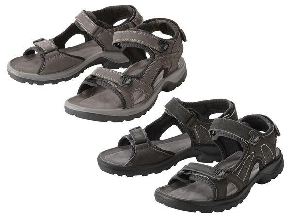 CRIVIT® Sandalen Damen, mit verstellbaren Klettverschlüssen, Lederfußbett