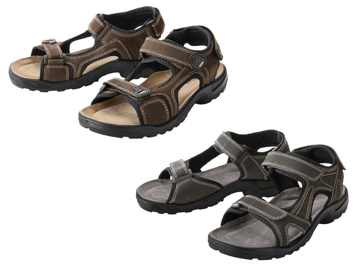 Bild 1 von CRIVIT® Trekking Sandalen Herren, Lederfußbett, flexible Laufsohle, verstellbare Klettverschlüsse