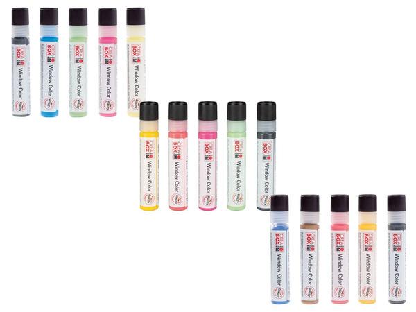 Marabu CREABOX Fenstermalfarben, 5 Stück, mit Malfolie