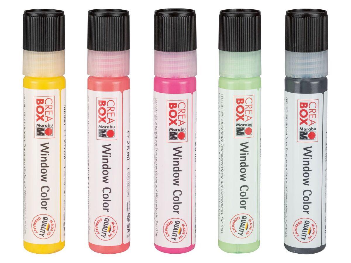 Bild 3 von Marabu CREABOX Fenstermalfarben, 5 Stück, mit Malfolie