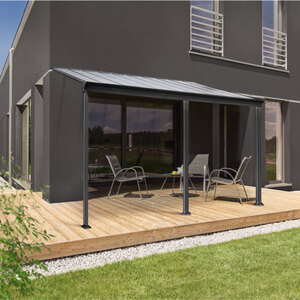 Terrassenüberdachung, 495 x 226/278 x 303 cm, grau