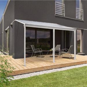 Terrassenüberdachung, 495 x 226/278 x 303 cm, weiß