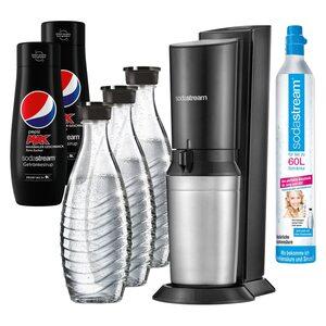 SodaStream Crystal 2.0 Wassersprudler, schwarz, + 3 Karaffen +2 Pepsi MAX schwarz, silber, Grau