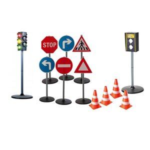Playfun Verkehrserziehung Set 12-tlg. mit Verkehrszeichen, Kinder-Ampel & Blitzer