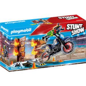 PLAYMOBIL® Stuntshow 70553 Stuntshow Motrorrad mit Feuerwand