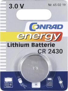 CR2430 Knopfzelle CR 2430 Lithium 270 mAh 3V 1St.