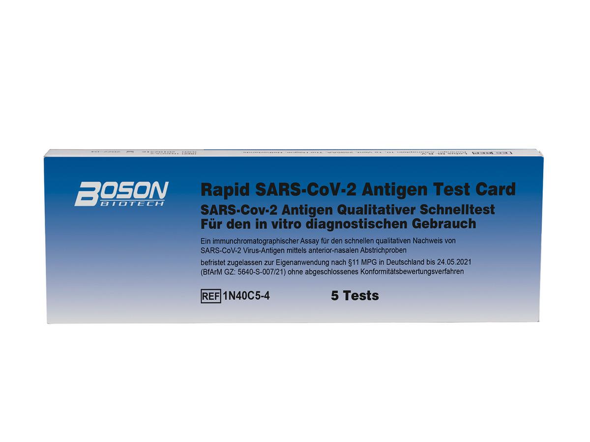 Bild 1 von 5er Set Boson Biotech Rapid SARS-CoV-2 Antigen-Schnelltest