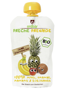 Erdbär Bio Freche Freunde Apfel, Banane, Ananas & Kokosnuss 100 g