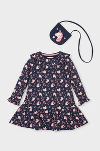 C&A Einhorn-Set-Kleid und Tasche-Bio-Baumwolle, Blau, Größe: 104
