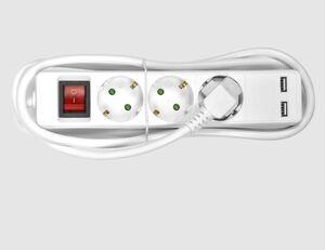 Steckdosenleiste 3-fach mit 2 USB