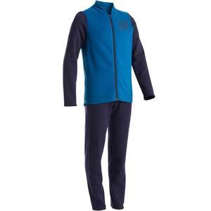 Trainingsanzug warm 100 Warmy Zip Gym Kinder blau/marineblau