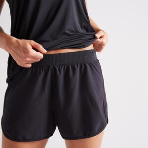 Shorts 2-in-1 Fitness Schutz vor Reibung schwarz