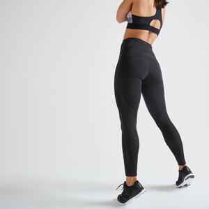 Leggings hoher Taillenbund Fitness figurformend, Smartphone Tasche schwarz