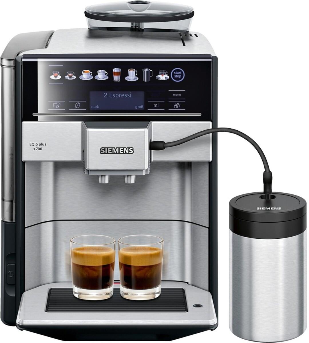 Bild 1 von SIEMENS EQ.6 plus s700 TE657M03DE Edelstahl, schwarz Kaffeevollautomat (coffeeSelect Display, autoMilk Clean, oneTouch DoubleCup, beleuchtetes Tassenpodest, iAroma System)