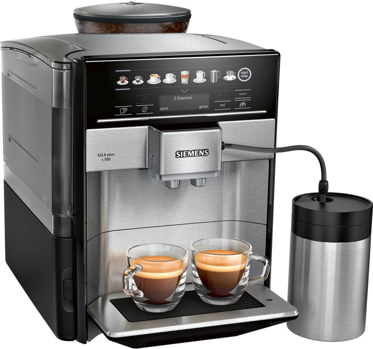 Bild 2 von SIEMENS EQ.6 plus s700 TE657M03DE Edelstahl, schwarz Kaffeevollautomat (coffeeSelect Display, autoMilk Clean, oneTouch DoubleCup, beleuchtetes Tassenpodest, iAroma System)