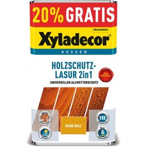 Xyladecor Holzschutz-Lasur 2in1 Eiche hell 4 + 1 l