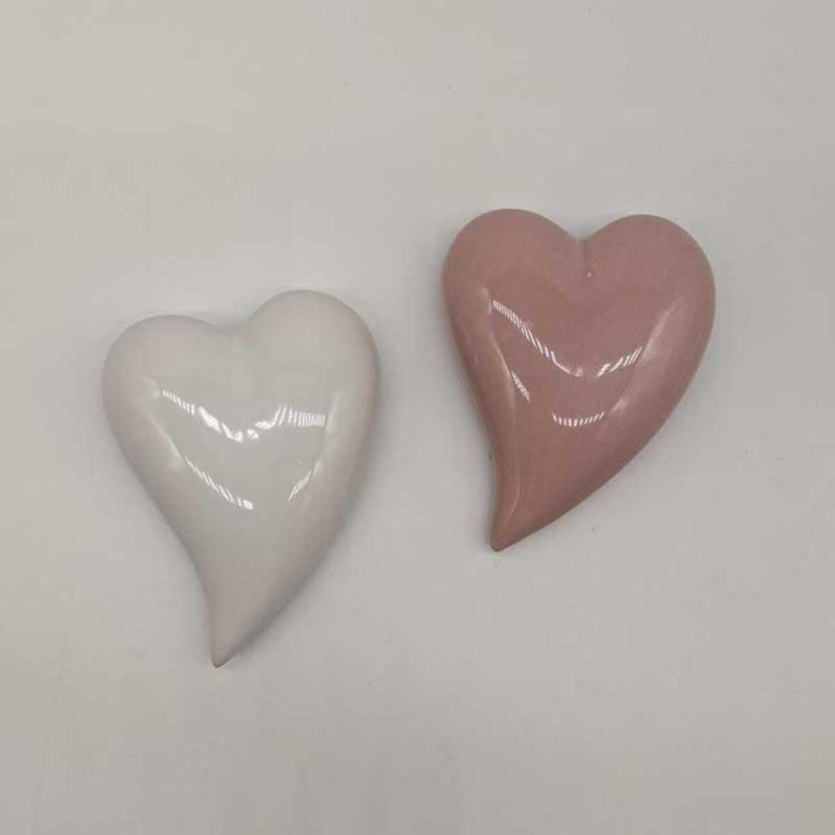 Bild 1 von Deko-Figur Herz, Dolomit, 8,50  x 11,00 x 2,50 cm, weiß & rosa