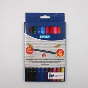 Stylex 10er-Set Duo-Fasermaler/Filzstifte, farblich sortiert