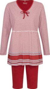 Ammann Single-Jersey Damen-Schlafanzug  gemustert langarm#Capri 40
