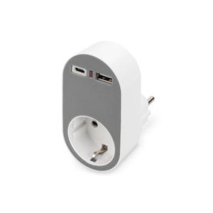 DIGITUS Universal Steckdosenadapter mit USB-C 1und USB-A