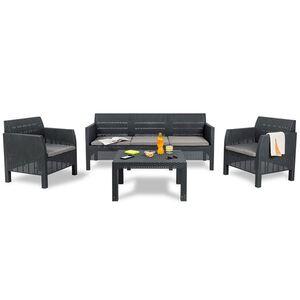 Lounge-Sitzgruppe Matilde mit Sitzkissen Anthrazit