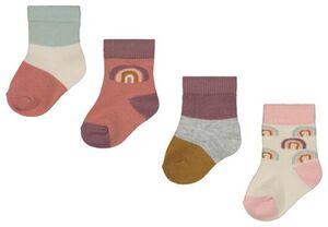 HEMA 4er-Pack Baby-Socken, Regenbogen Rosa