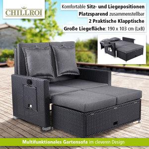 HC Home & Living Lounge-Sofa 2-Sitzer inkl. Hocker