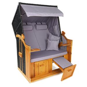 Hoberg Strandkorb 2 Sitzer 120x80x160cm grau/braun