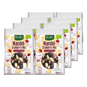 BioBio Mandel-Cranberry-Mix 125 g, 8er Pack