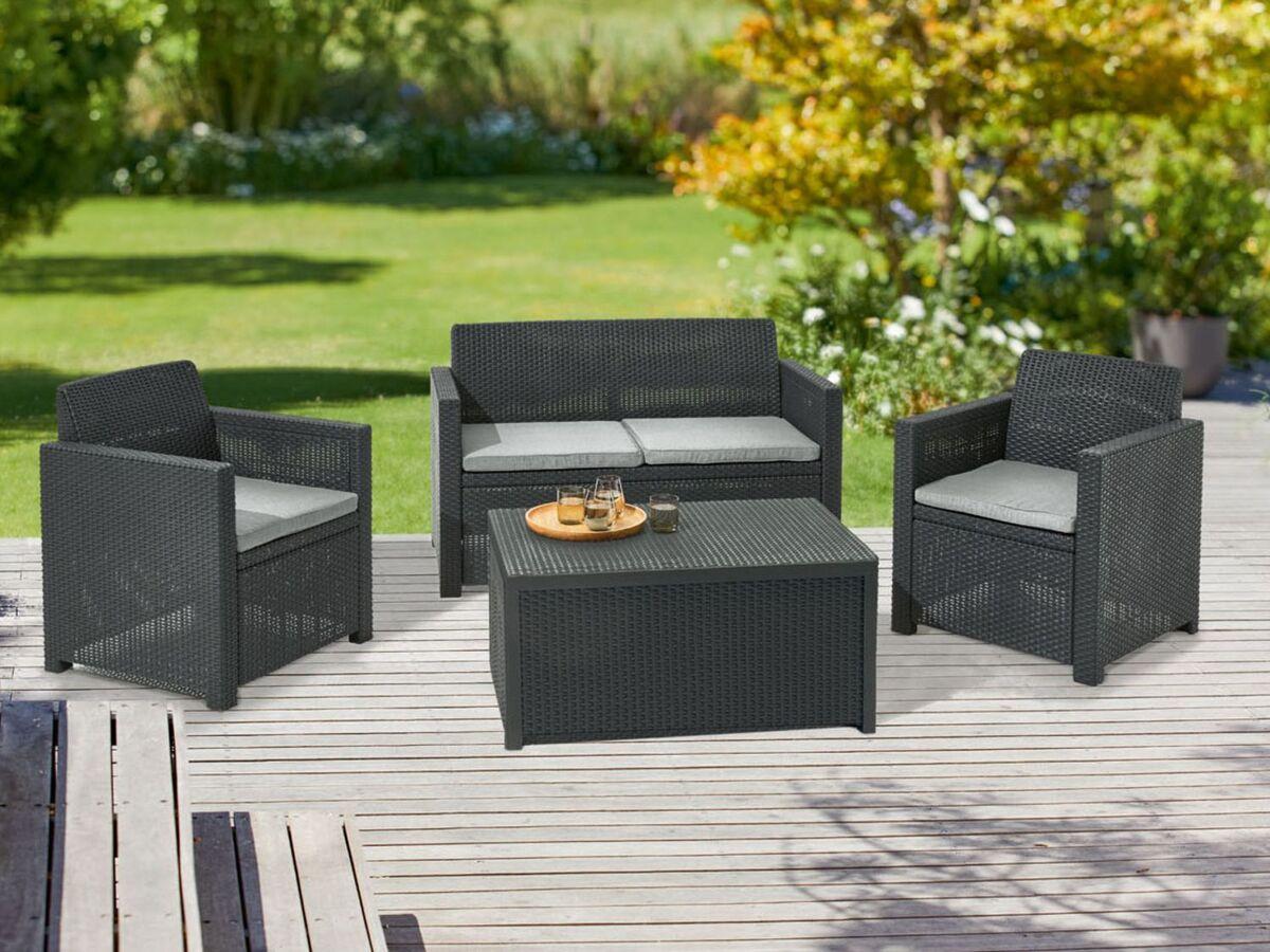 Bild 4 von FLORABEST Loungeset mit Tisch, 4-teilig, in Rattan-Optik