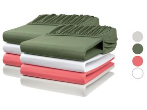 MERADISO® Jersey Spannbettlaken, 2 Stück, 90-100 x 200 cm