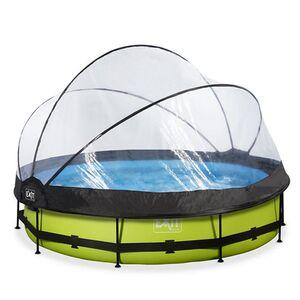 EXIT Lime Pool ø360x76cm mit Abdeckung und Filterpumpe - grün