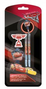 Cars - 2 Bleistifte mit 1 Radierertopper und 1 Spitzertopper