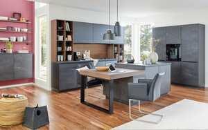 Einbauküche Flash in schwarzbeton, Siemens Elektrogeräte inklusive