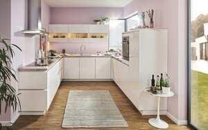 Einbauküche Flash in Hochglanz weiß, inklusive Privileg Elektrogeräte