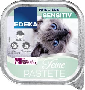 EDEKA Feine Patete Sensitiv Pute mit Reis Katzenfutter nass 100G