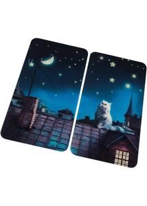 Herdabdeckplatten mit Katze auf Dach Motiv (2er Pack)