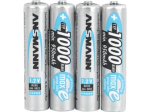 ANSMANN NiMH-Akku Micro AAA 1000mAh, 4er Akku Akku, Ni-MH, 1.2 Volt, 1000 mAh