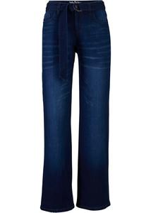 Stretch-Jeans mit recycelten Polyester, Wide, mit Gürtel