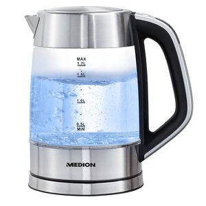 MEDION Digitaler Glas-Wasserkocher MD 10210, 1,7 L Kapazität, digitale Temperatureinstellung, LED-Beleuchtung
