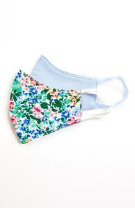 Maske aus Stoff mit Blumenmuster/in Weiß, 2er-Pack