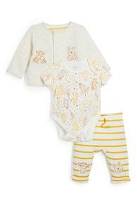 """3-teiliges gelbes """"Winnie Puuh"""" Set mit Body, Leggings und Jacke für Neugeborene"""